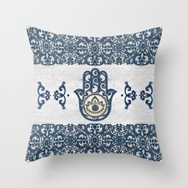 Hamsa Hand Hand of Fatima blue wood Throw Pillow