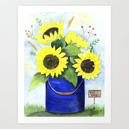 Watercolor sunflower bouquet in bucket Art Print