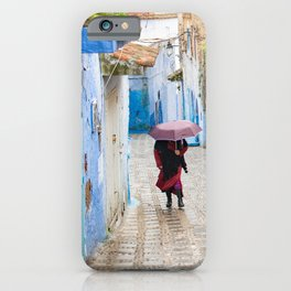 Rainy Day in Chefchaouen, The Blue City of Morocco iPhone Case
