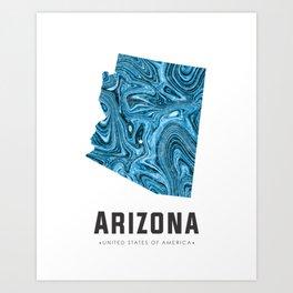 Arizona - State Map Art - Abstract Map - Blue Art Print