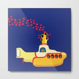 Yellow Submarine Bubbling Love Metal Print