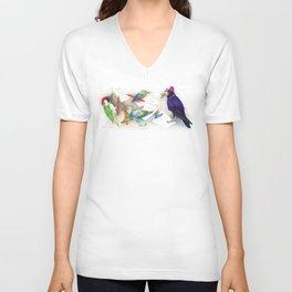 Birds writing illustration Unisex V-Neck