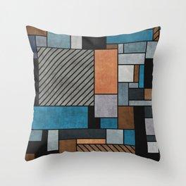 Random Concrete Pattern - Blue, Grey, Brown Throw Pillow