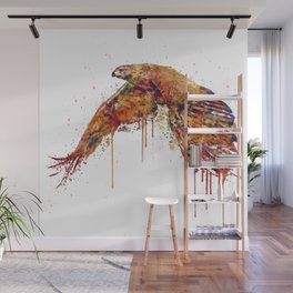 Flying Hawk Watercolor Painting Wall Mural