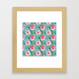 Hand painted blush pink blue turquoise watercolor boho roses floral Framed Art Print