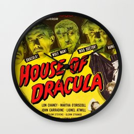 House of Dracula, vintage horror movie poster Wall Clock