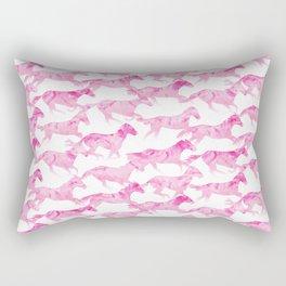 Running Watercolor Horses Pattern - Pink Rectangular Pillow