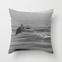 Black and white dolphin race in the ocean Throw Pillow