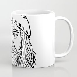 Rastafarian Dude Head Front Drawing Black and White Coffee Mug