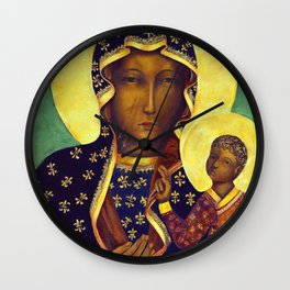 Virgin Mary Our Lady of Czestochowa Poland Black Madonna and Child Religion Christmas Gift Wall Clock