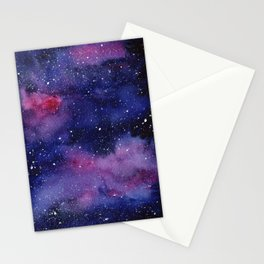 Watercolor Galaxy Nebula Pink Purple Sky Stars Stationery Cards