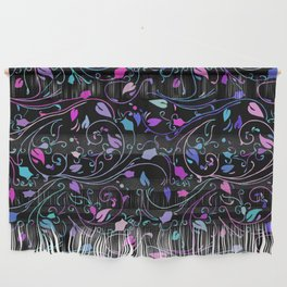 Abstract Floral on Black Background Wall Hanging
