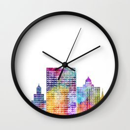 El Paso landmarks watercolor poster Wall Clock
