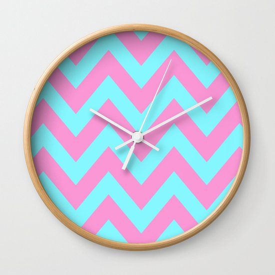 PINK & TEAL CHEVRON  Wall Clock