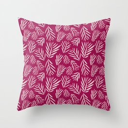 Palm Ink in Berry Throw Pillow