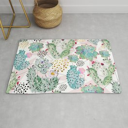 Modern triangles and hand paint cactus pattern Rug