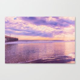 Solace by Sunset Cayucos pier and beach Canvas Print