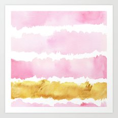 Pink and Gold Bold Watercolor Brush Strokes Art Print