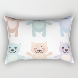 funny cats, pastel colors on white background Rectangular Pillow