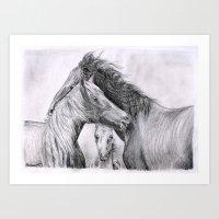 Pencil Horses Family Art Print