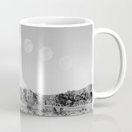Desert Moon Ridge B&W // Summer Lunar Landscape Teal Sky Red Rock Canyon Rock Climbing Photography Coffee Mug