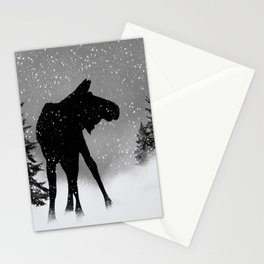 Moose in snow Stationery Cards