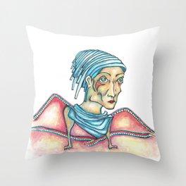 Blue Hat Woman Throw Pillow