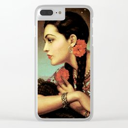 Mexican Calendar Girl in Profile by Jesus Helguera Clear iPhone Case