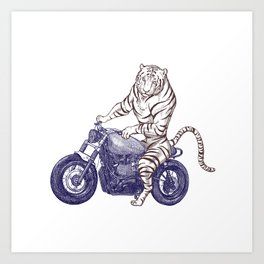 Tiger on a Motorcycle Art Print