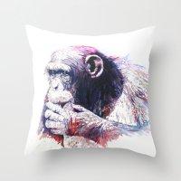 monkey Throw Pillows featuring Monkey by Cristian Blanxer