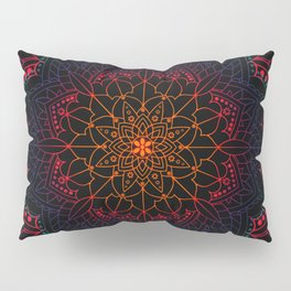 Bohemian Neon Dream Mandala Orange Pink Purple Blue Pillow Sham