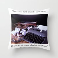 catcher in the rye Throw Pillows featuring Vintage Typewriter with Catcher in the Rye quote by TiffanyOneillPhotography
