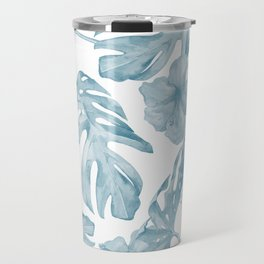 Gorgeous Blue Tropical Leaves + Flowers Travel Mug