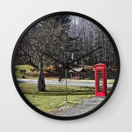 A Red Phone Booth in the Middle of  Nowhere Wall Clock