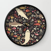 blankets Wall Clocks featuring Oceanica by Anna Deegan