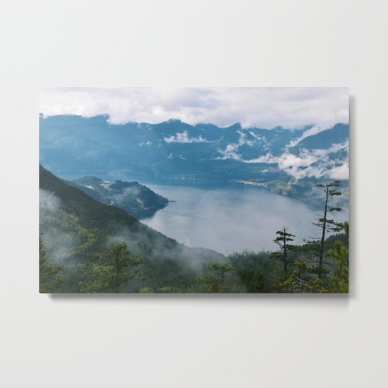 Fog over the water in Squamish BC Metal Print