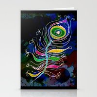 peacock feather Stationery Cards featuring Peacock Feather by GrOoVy Photo Art