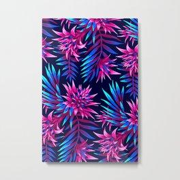 Aechmea Fasciata - Dark Blue/Pink Metal Print