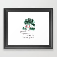 My head is in the forests Framed Art Print