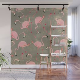 Grey Flamingo Pattern Wall Mural