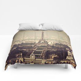 paris skyline aerial view with eiffel tower Comforters