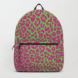 Pink green leopard print, pink cheetah print, animal print, punk rock, psychobilly, 70s Backpack