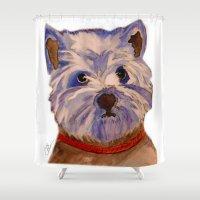 westie Shower Curtains featuring West highland terrier Westie dog love by Gooberella