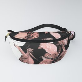 Pink and Black Poinsettia Christmas Holiday Flowers Fanny Pack