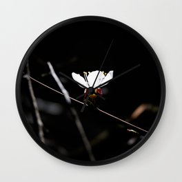 Sakura flowers on black 03 Wall Clock