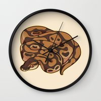 monty python Wall Clocks featuring Ball Python by Cargorabbit