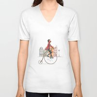 cycling V-neck T-shirts featuring Old cycling by Diego Caceres