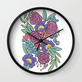 Retro Loose Florals, Purple and Pink Flowers Wall Clock