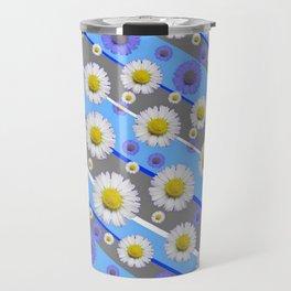 DECORATIVE DIAGONAL PATTERN BLUE MODERN ART WHITE SHASTA DAISIES Travel Mug