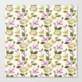 Elegant ivory pink lavender country floral pattern Canvas Print